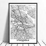 guatan Leinwand Bild,Stockholm Stadt Karte Drucken Moderne