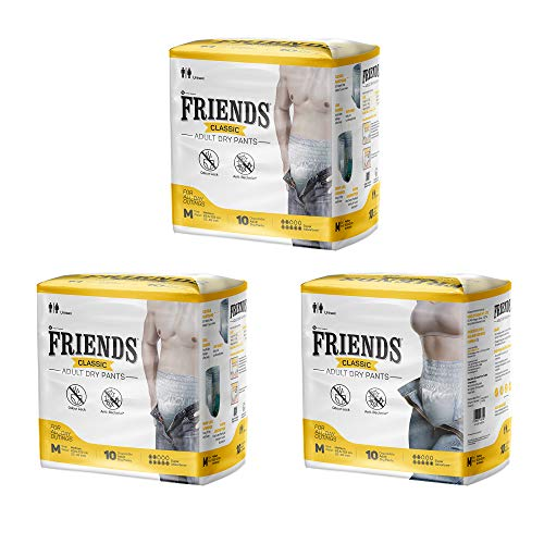 Friends Classic Adult Diapers Pants Style - 30 Count (Medium) with odour lock and Anti-Bacterial Absorbent Core- Waist Size 25-48 inch ; 63.5-122cm