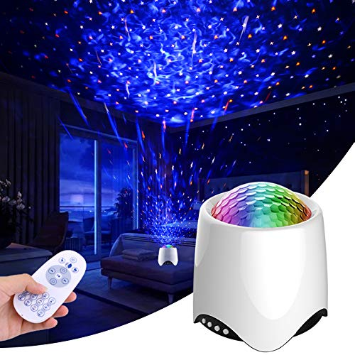 Star projector, Elmchee 3 in 1 LED Sky Projector with 14 Projection Effects, Music Speaker, Sky Star Lite Light, Nebula Cloud, Galaxy starry Night Light Projector for Baby bedroom Christmas gift