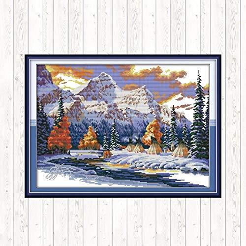 Camping im Winter Kreuzstich Stickerei Kits gestempelt Home Decor DIY handgemachte Handarbeit Leinwand 11CT 14CT New Year Home Decor