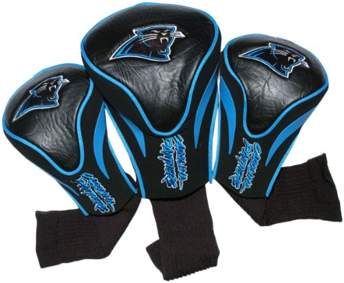Team Golf NFL Carolina Panthers Contour Golf Club Headcovers (3 Count), Numbered 1, 3, & X, Fits Oversized Drivers, Utility, Rescue & Fairway Clubs, Velour lined for Extra Club Protection