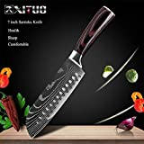 SJZS Cuchillo de Cocina de 8' Pulgadas Modelo japonés Cuchillos de Cocina láser Damasco Chef Santoku Cuchillo Afilado Cleaver rebanar Cuchillos Herramienta EDC (Color : 7 in Santoku Knife)