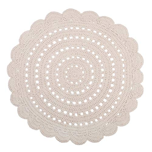 NATTIOT Tapis Rond Alma Coton Effet Crochet uni Ecru Ø120 cm