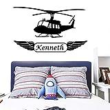 JXMN Anpassbare DIY Flugzeug benutzerdefinierte Name Aufkleber Babyzimmer abnehmbare Wandaufkleber Wandbild Aufkleber Wandaufkleber Wandbild 47x78cm