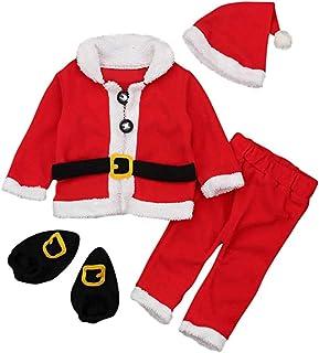 QWW, QWW Chaqueta de Navidad Navidad 4pcs + Pantalones + Sombrero + Calcetines de Santa Calcetines de Calcetines 0-24 Meses,Rojo y Blanco,18-24 Meses