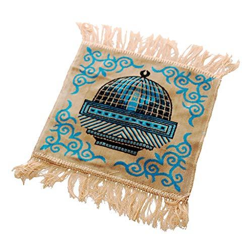 Judyd Islamic Velvet Gebetsteppich mit Quaste Jacquard Muslim kleinen quadratischen Matte Teppich, Beige Flocking Jacquard Muslim Gebetsdecke, Beige