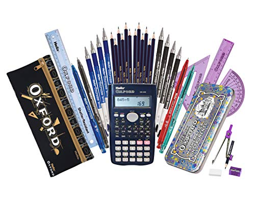 Helix Oxford Complete Back to School Stationery Set (Purple Splash Maths Set)