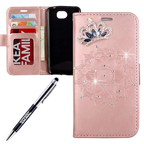 JAWSEU kompatibel mit Huawei Y6 II Compact Hülle Handy Tasche Bling Diamant Glitzer Mandala Muster PU Leder Tasche Brieftasche Flip Case Wallet Tasche Lederhülle Schutzhülle Rose Gold