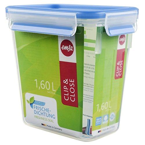 Emsa 508543 Rechteckige Frischhaltedose mit Deckel, 1.6 Liter, Transparent/Blau, Clip & Close
