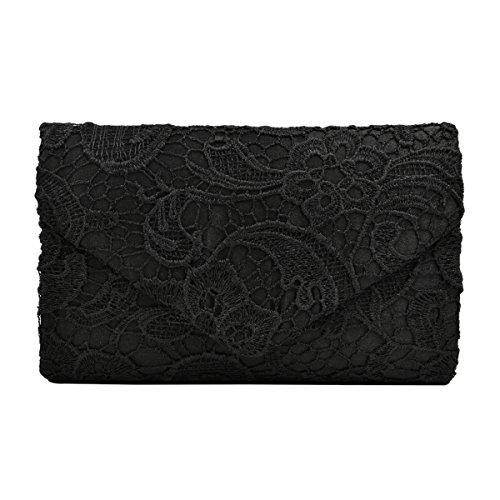 Lace Paisley Floral Fabric Satin Envelope Flap Clutch Evening Bag, Black
