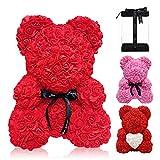KIPIDA Rosenbär,Rosen-Teddybär Blumenbär Über 250 Blumen, Einzigartiges Geschenk für Valentinstag, Muttertag, Frau, Freundin, Jahrestag, Hochzeit, Geburtstag-Transparenter Geschenkbox (10in,Red)