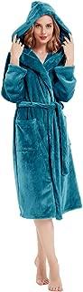 Women Hooded Fleece Robes Warm Plush Terry Cloth Bathrobe Spa Nightwear