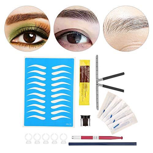 Augenbrauen Tattoo Set Augenbrauen Tattoo Pen Nadeln Braun Pigment Lineal Bleistift etc Pdf Professional Augenbrauen Tattoo Tool Kits