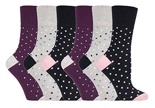 Gentle Grip - 6 Paar Damen Gesundheitssocken Ohne Gummi Diabetiker Druckfreie Handgekettelt Baumwollanteil Socken 37-42 EUR (GG133)