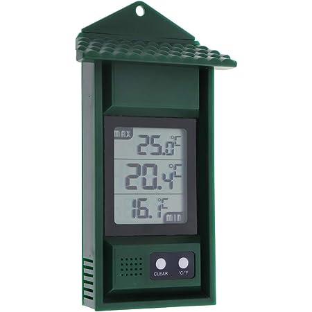 Termómetro digital para monitorizar las temperaturas máxima y mínima - Práctico termómetro de invernadero para interiores y exteriores, fácil de montar en la pared