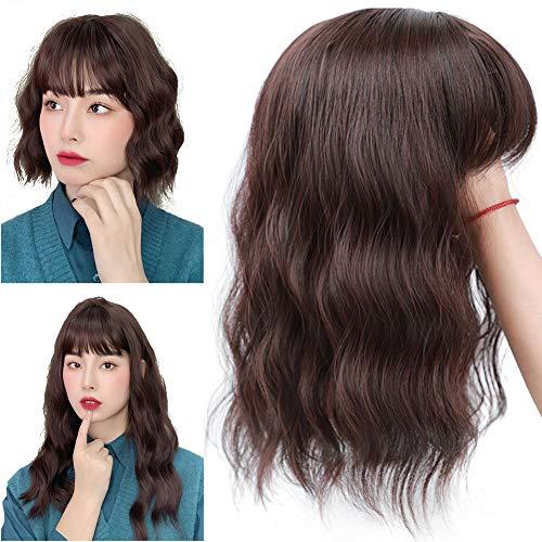 Bangs Couronne postiche à clip pour cheveux ondulés marron foncé 25cm