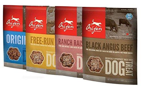 Orijen Freeze Dried Dog Treats 4-Pack (Original, Angus Beef, Alberta Lamb, Free-Run Duck)