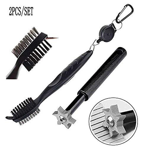JUNTAO doppelseitige Schlägerreinigerbürste und Schlägerrillenschärfer, Reinigungswerkzeug-Set, Schwarz