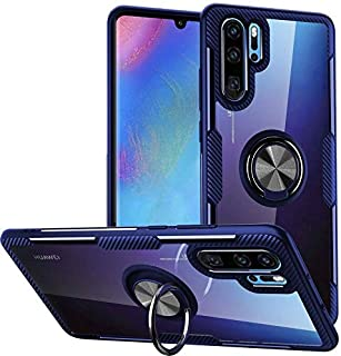 for Huawei P30 Pro Case, Clear Crystal Carbon Fiber with Finger Ring Grip Holder Stand - Navy