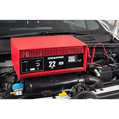 Absaar 635622 77917 Batterieladegerät Auto Ladegerät 22A 12V mit Starthilfefunktion, für 30 Ah - 225 Ah Batterien, rot/schwarz