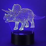 Dinosaurier Geschenke, Triceratops 3D Dinosaurier Nachtlicht mit 16 Farbwechsel und Fernbedienung, Geschenke für Jungen ab 3 4 5 6+ Jahre