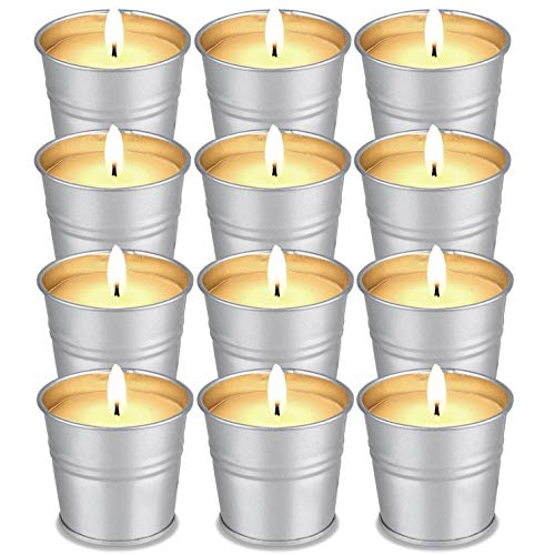 Facio Citronella Candles Outdoor Indoor 12 Pack Scented Candles Set Bulk Made with Soy Wax Bucket and Essential Oils for Garden Patio Yard Home Balcony