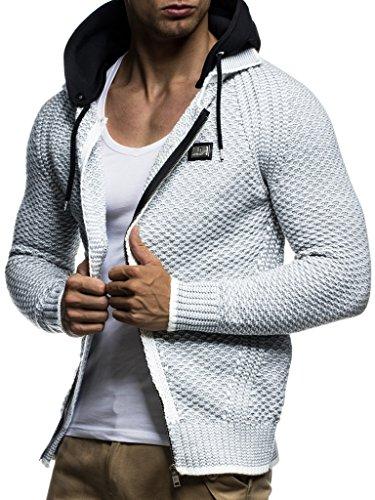 Leif Nelson Herren Kapuzenpullover Strickjacke Hoodie Pullover mit Kapuze Sweatjacke Sweater Zipper Sweatshirt LN7055; Größe L, Ecru-Grau