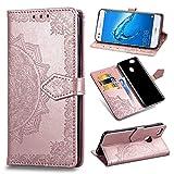 Qiaogle Funda para Huawei P9 Lite Mini/Enjoy 7 - PU Cuero Mandala Billetera Clamshell Carcasa Cover para Huawei P9 Lite Mini/Enjoy 7 - SD13 / Rose Gold