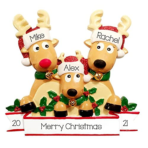 2021 Personalized Ornament Reindeer Family of 3 with Glittered Santa Hat Christmas Tree Ornament Rudolph The Red Nose Family Handwritten Customized Ornament-Free Personalization (Family of 3)