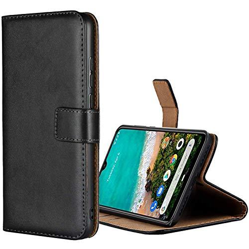 Aopan Xiaomi Mi A3 Hülle, Flip Echt Ledertasche Handyhülle Brieftasche Schutzhülle für Xiaomi Mi A3, Schwarz