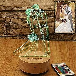16 Farben Nachttischlampe Personifizierte Foto 3D Nachtlampe Bluetooth LED Nachtlicht Dekoration Acryl für Kinderzimmer Wohnzimmer USB Kabel zum Kinder Geschenk