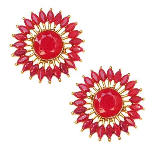 Pahal - Pendientes de oro Jhumka de estilo tradicional rosa Kundan redondo del sur de la India Bollywood joyería para novia para mujer