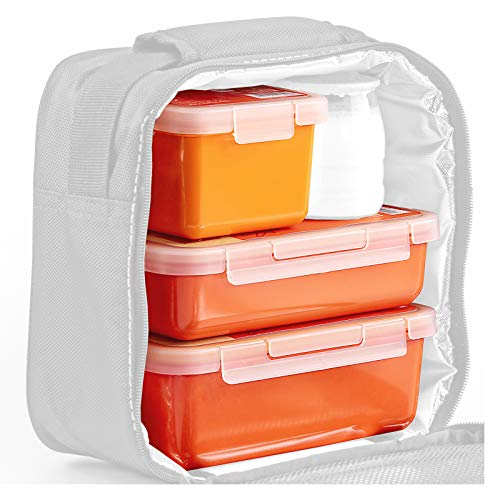 Valira Nomad - Set di 3 Contenitori Porta Alimenti 100% Ermetico Plastica di Alta Qualità in Ceramica, Ricambio Gama Nomad Collection, Misure 0.75L + 0.5L + 0.4L, Colore Arancione