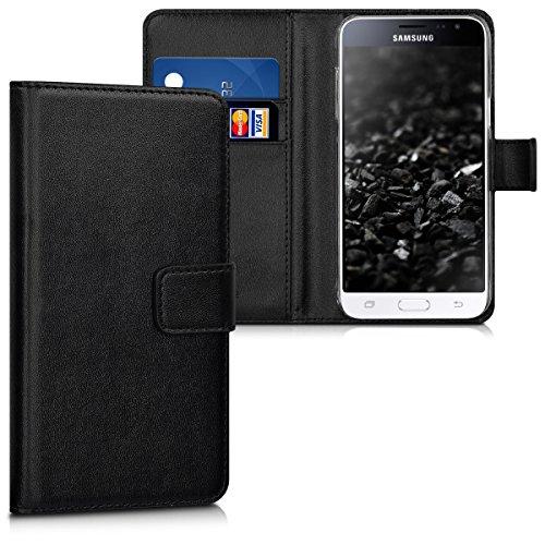kwmobile Wallet Hülle kompatibel mit Samsung Galaxy J3 (2016) DUOS - Hülle Kunstleder mit Kartenfächern Stand in Schwarz