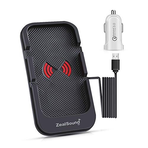 Fast Wireless Car Charger, ZealSound Qi-Certified Car Charge Slim Pad Station Dock & Phone Holder for Car with USB QC 3.0 Adapter 10W/7.5W Quick Charging Compatible for All Qi Enabled Phones (Black)