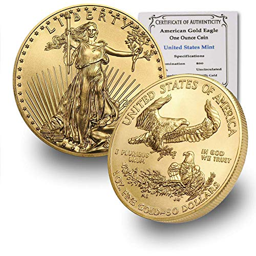 2020 1 oz Gold American Eagle BU In Coin Flip With CoinFolio COA $50 Brilliant Uncirculated