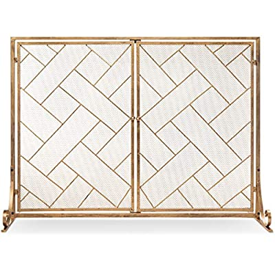 Best Choice Products 44x33in 2-Panel Handcrafted Wrought Iron Decorative Mesh Geometric Fireplace Screen, Fire Spark Guard w/Magnetic Doors - Gold from Best Choice Products