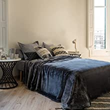 LA MALLORQUINA Manta - Arhus (Cama 135/150/160cm - 220x240cm - Plomizo) - Elegante Manta Plaid De Lujo Suave Tacto de Terciopelo