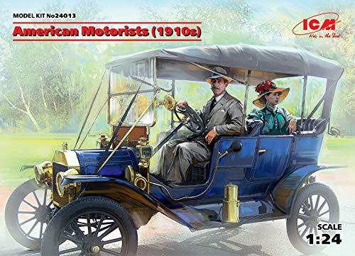 ICM 1/24 Scale American Motorists (1910s) 2 Figure Set, Male Driver and Female Passenger, 100% New Molds - Plastic Figure Model Building Kit #24013