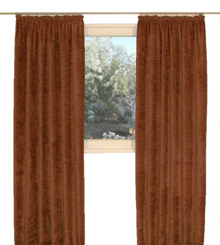 """Vorhang \""""Grönland A\"""", Thermo-Chenille Kräuselband, Farbe:rostbraun, 225/270 cm, Schwere Qualität: 330g/qm, Einzelschal, Thermovorhang"""
