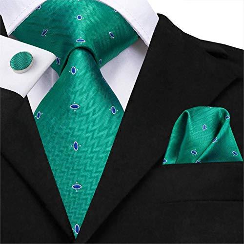 WOXHY Herren Krawatte Sn-3130 Krawatte 8,5 cm 100% Seide Herren Hellgrün Krawatte Dot Krawatte Einstecktuch Manschettenknöpfe Set für Herren Klassische Hochzeit Krawatte Set 150 cm lang