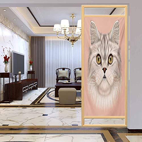 "W 23.6"" x L 47.2"" UV Glass Film Window Home Office Living Room,Cute Kitty Portrait Whiskers Best Pet Animal I Love My Feline Themed ArtworkBeige Cream Peach"