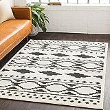 Amoret 5' 3' x 7' 3' Bohemian Farmhouse Shag - Charcoal Black and White Moroccan Area Rug - Rectangle - 65% Polypropylene 35% Polyester