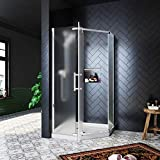 SUNNY SHOWER Prism Semi-Frameless Neo Angle Shower Enclosure with 1/4 in. Frosted Glass, 36 3/5 in. x 71 4/5 in Pivot Shower Glass Door, Shower Base Included