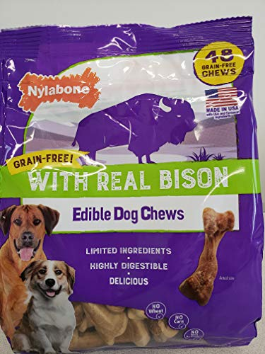 Nylabone Dog Chew Grain Free Edible With Real Bison Highly Digestible No Corn No Meat By- Product ( 48 Chew) (One Pack- 2.1 LB)