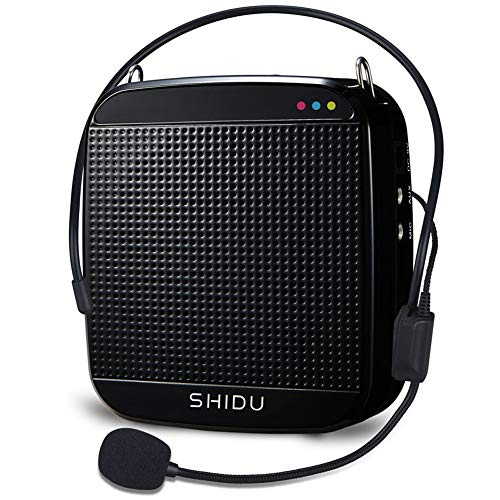 Portable Voice Amplifier 15W,SHIDU Personal Speaker Microphone Headset Rechargeable Mini Pa System for Teachers Tour Guides Coaches Classroom Singing Yoga Fitness Instructors (S512-Black)