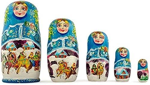 promociones BestPysanky Set Set Set of 5 Winter Ride Russian Wooden Matryoshka Nesting Dolls 7 Inches  ordenar ahora