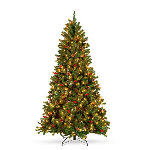 Best Choice Products 9ft Pre-Lit Pre-Decorated Spruce Hinged Artificial Christmas Tree w/ 2,128 Tips, 60 Pinecones, 60 Berries, 900 Lights, Metal Base