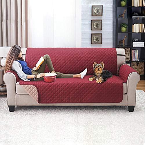 B/H Faltbar und Elastisch Sofaüberwurf,Wasserdichtes und schmutzabweisendes Sofakissen für Haustiere,Ultraschall-Sofakissen in Burgund_Doppel: 116×188 cm,Haustierschutz Sofabezug