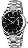 Mens Classic Casual Quartz Watch Luminous Hand Stainless Steel Band Roman Numeral Date Watch (Black)